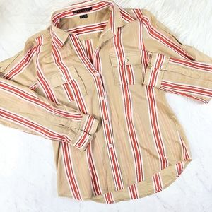 Theory Linnea Striped Tan Button Down Blouse